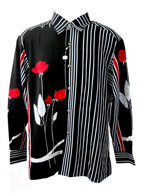 Men's Fashion Shirt in Black with Grey Stripes and Roses