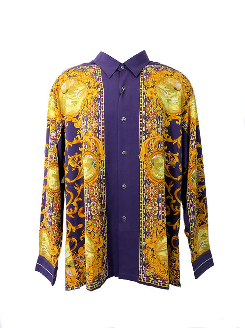 Men's Fashion Shirt in Purple with Golden Decorative Patterns
