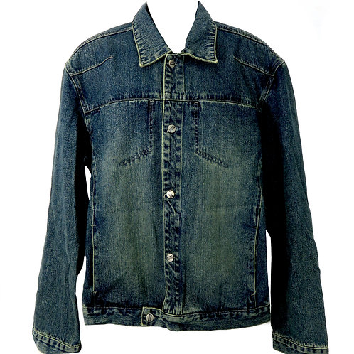 Men's Thick Dark Denim Jacket, Thick and Strong!