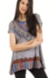 Girl in grey bohemian t-shirt