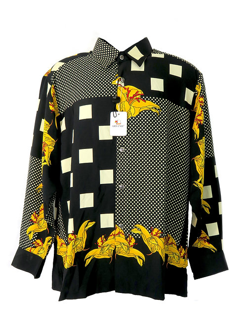 Men's Fashion Shirt in Black with Vibrant Florals