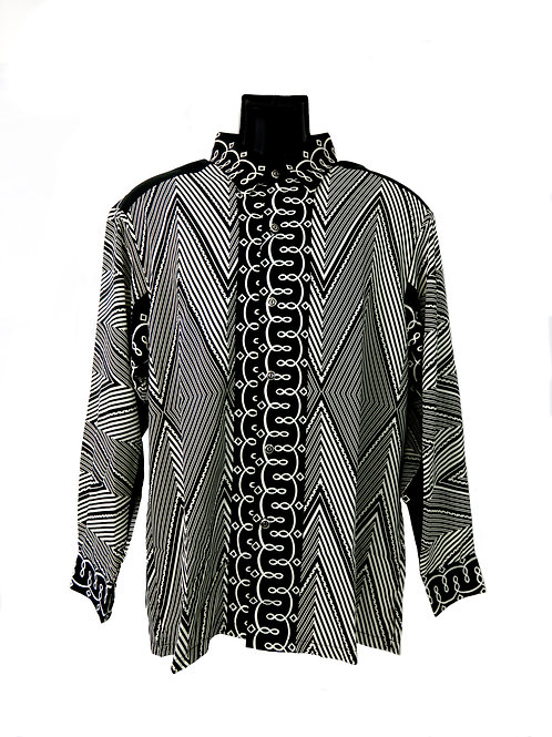 Men's Fashion Shirt in Black and White Decorative Pattern
