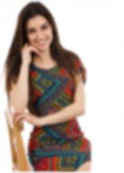 Girl in Red Geometric Dress