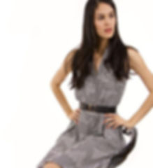 Girl in striped collar dress