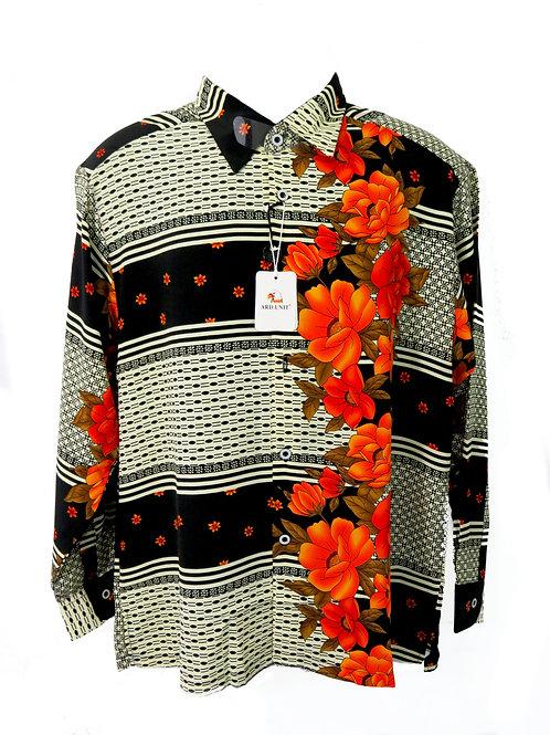 Men's Fashion Shirt with Orange Florals