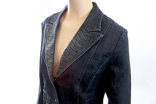Women's Denim Jacket with Arrow studded Pattern (dark denim)