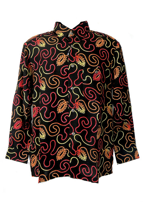 Men's Fashion Shirt in Swirly Pattern, Red, Yellow and Orange on Black