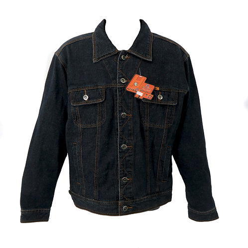 Men's Thick Black Dark Wash Denim Casual Jacket