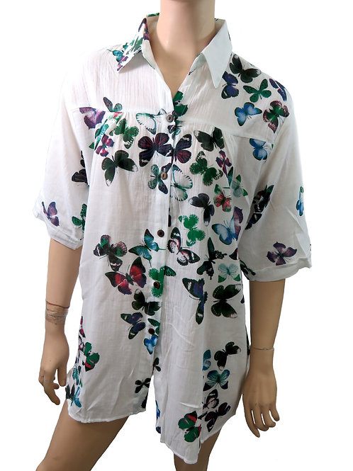 Women's Summer 100% Cotton Shirts, Butterfly Pattern, (3 to choose from)