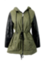 Women's Fashion Jacket with Khaki Material and Leather Sleeves