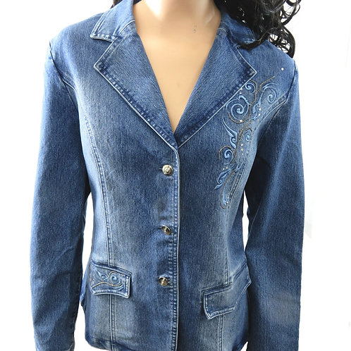 Women's Light Denim Jacket with Curly studded Pattern
