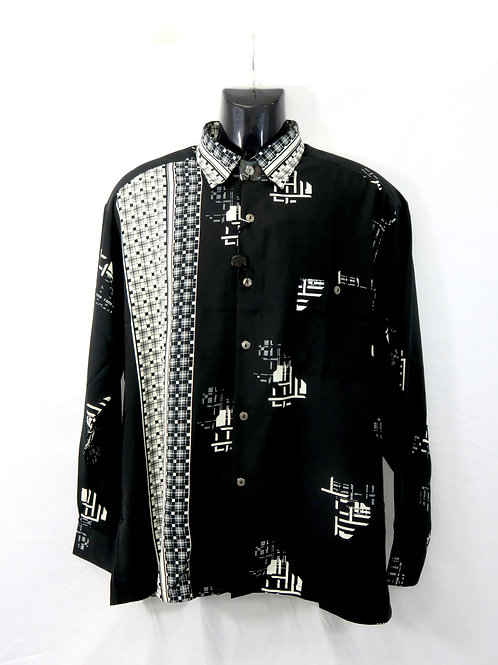 Men's Fashion Shirt in Black&White Pattern