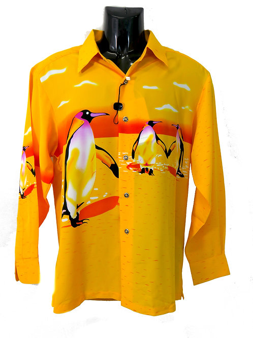 Men's Fashion Shirt in Yellow with Penguin Illustrations