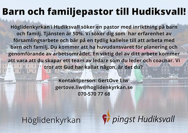 Barn och familjepastor till Hudiksvall!-