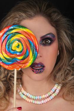 Colorful Candy Lollipop Makeup
