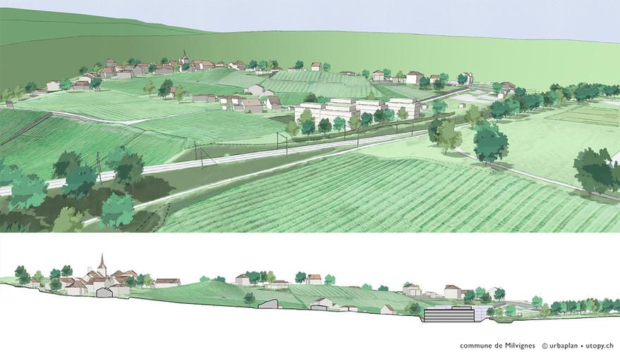 commune Milvignes urbain urbanisme maquette 3D