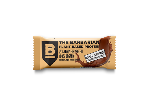 Box of 16 The BarBarian RAW CHOCOLATE-COATED 25% PROTEIN BAR - DOUBLE CHOC MACA