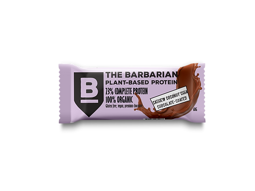 Box of 16 The BarBarian RAW CHOCOLATE-COATED 25% PROTEIN BAR - CASHEW CO