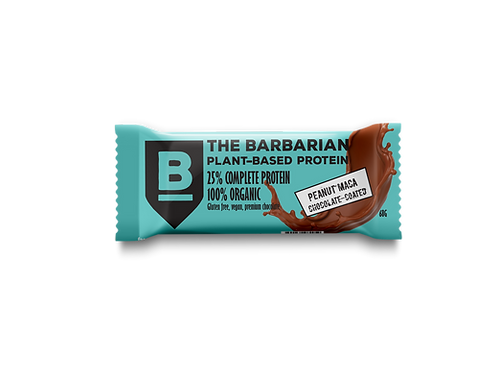 Box of 16 The BarBarian RAW CHOCOLATE-COATED 25% PROTEIN BAR - PEANUT MACA