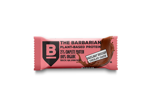 Box of 16 The BarBarian RAW CHOCOLATE-COATED 25% PROTEIN BAR - HAZELNUT ROSEHIP