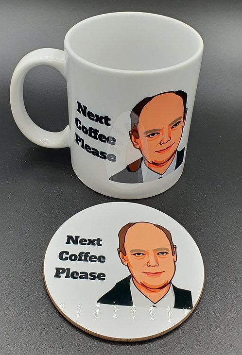Next Coffee Please Mug & Coaster. Tribute to Professor Chris Whitty