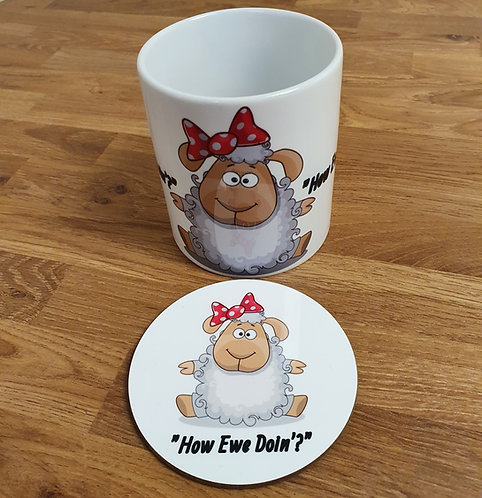 How Ewe Doin'? Mug and Coaster Set