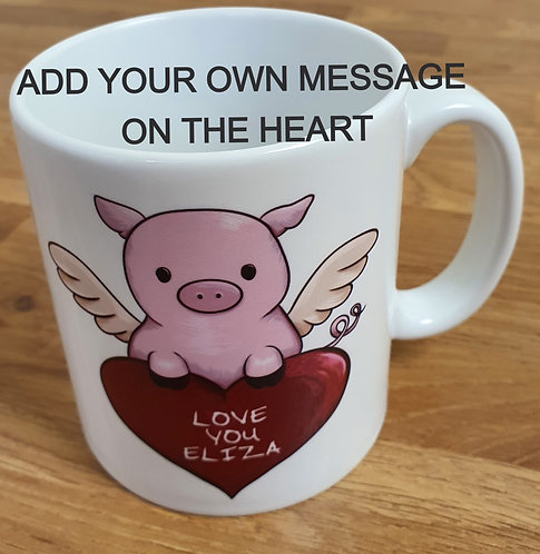 Flying Pig Personalised Heart Mug