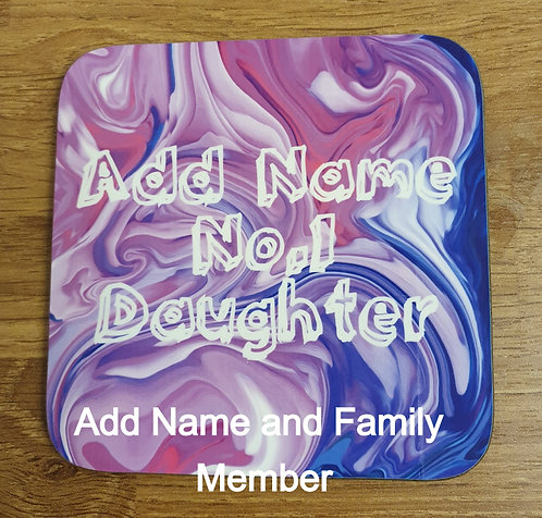 Personalised Paint Swirl Coaster (Pink)