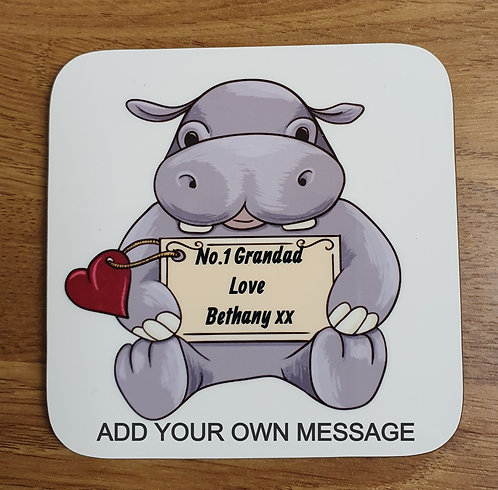 Personalised Cute Hippo Coaster
