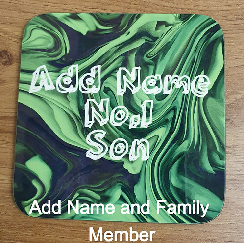 Personalised Paint Swirl Coaster (Green)
