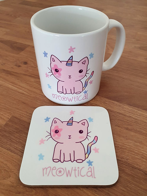Meowtical Mug & Coaster Set