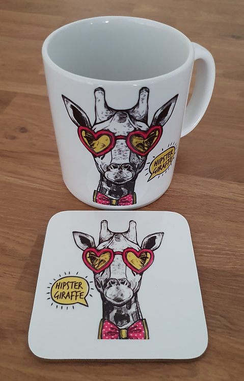 Hipster Giraffe Mug & Coaster -Could You Be Any Cooler?