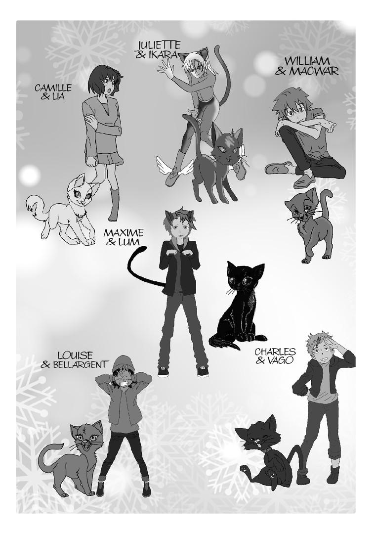 les personnages et les chats