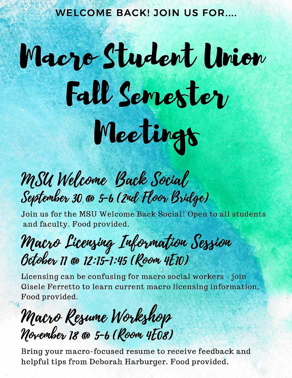 MSU event schedule