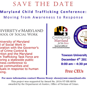 Maryland Child Trafficking Conference: Moving from Awareness to Response