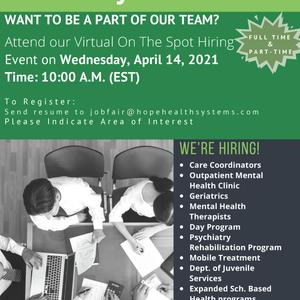 Hope Health Systems Virtual Job Fair (Today, April 14)