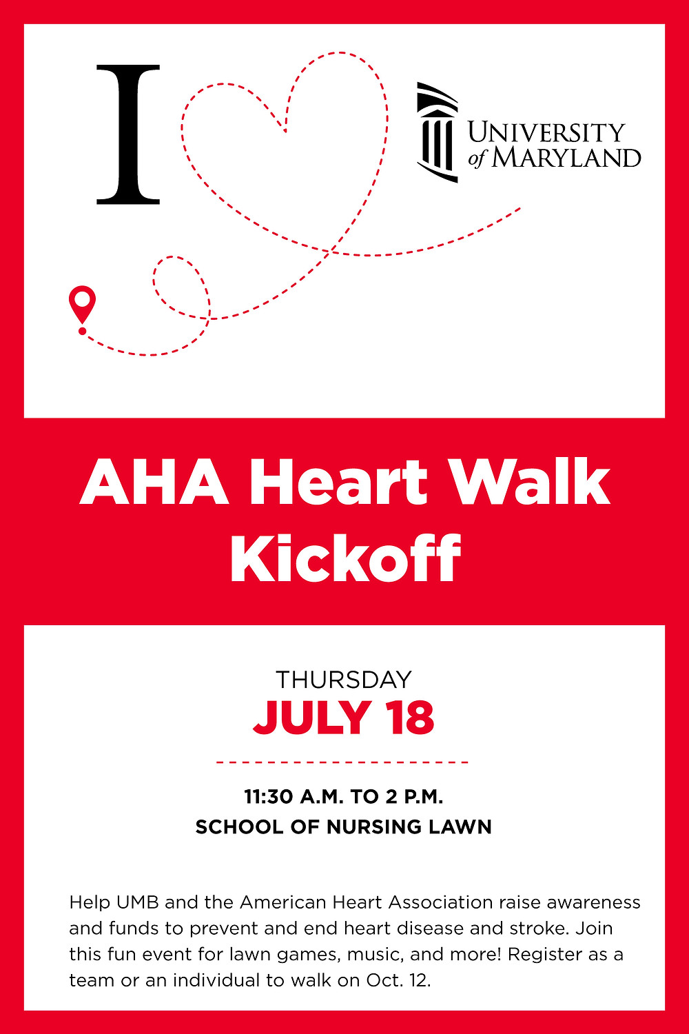 Help UMB and the American Heart Association raise awareness and funds to prevent and end heart disease and stroke. Join this fun event for lawn games, music, and more! Register as a team or an individual to walk on Oct. 12. T