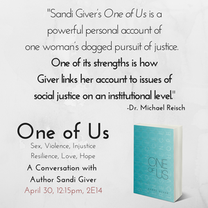 "Complimentary signed copies of ""One of Us: Sex, Violence, Injustice. Resilience, Love, Hope"" for the"