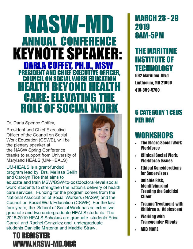 NASW-MD Chapter's 2019 Social Work Month Annual Conference: Thursday