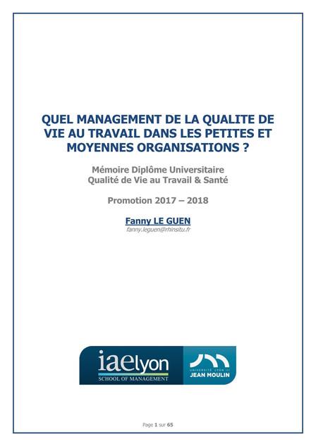 Quel management de la Qualité de Vie au Travail dans les petites et moyennes organisations ? Fanny LE GUEN