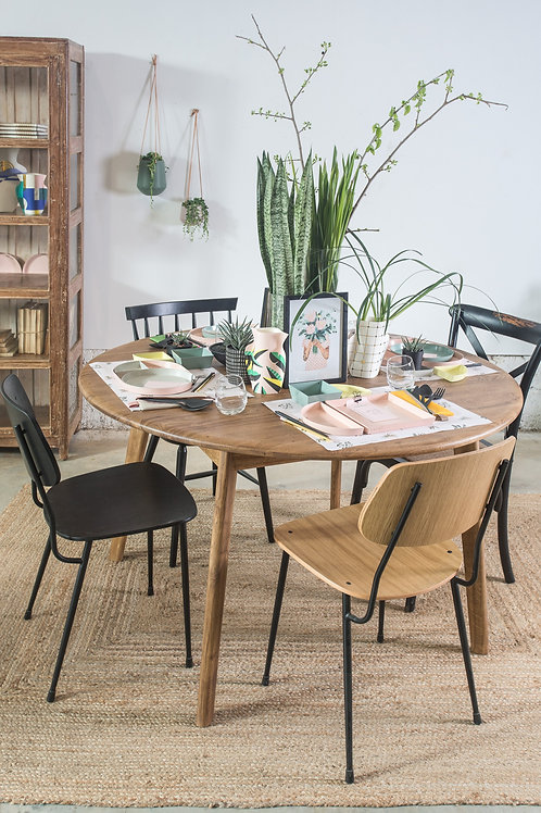 שולחן עגול מעץ אלון מושחר
