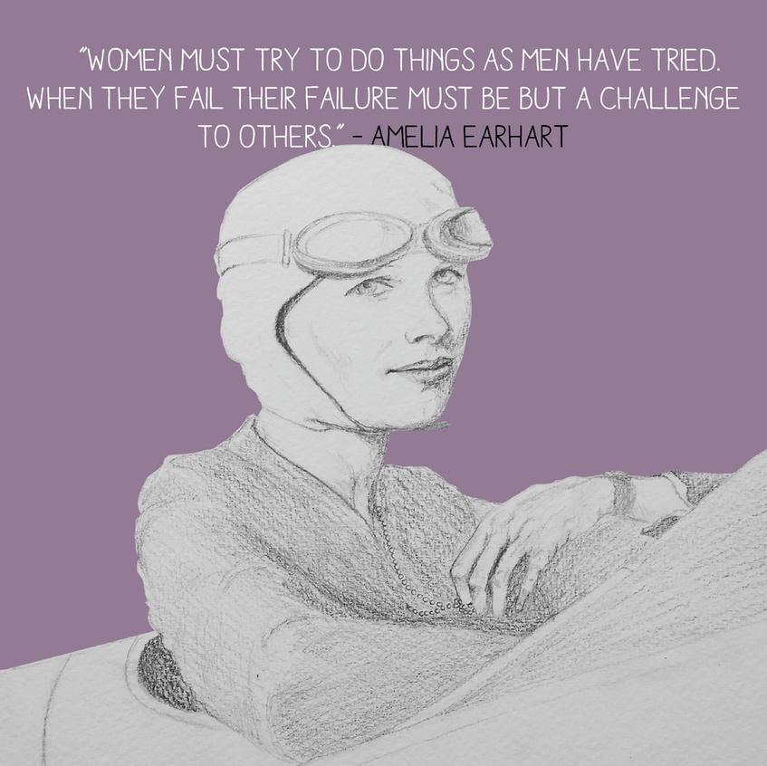 Detail Amelia Earthart Black & White
