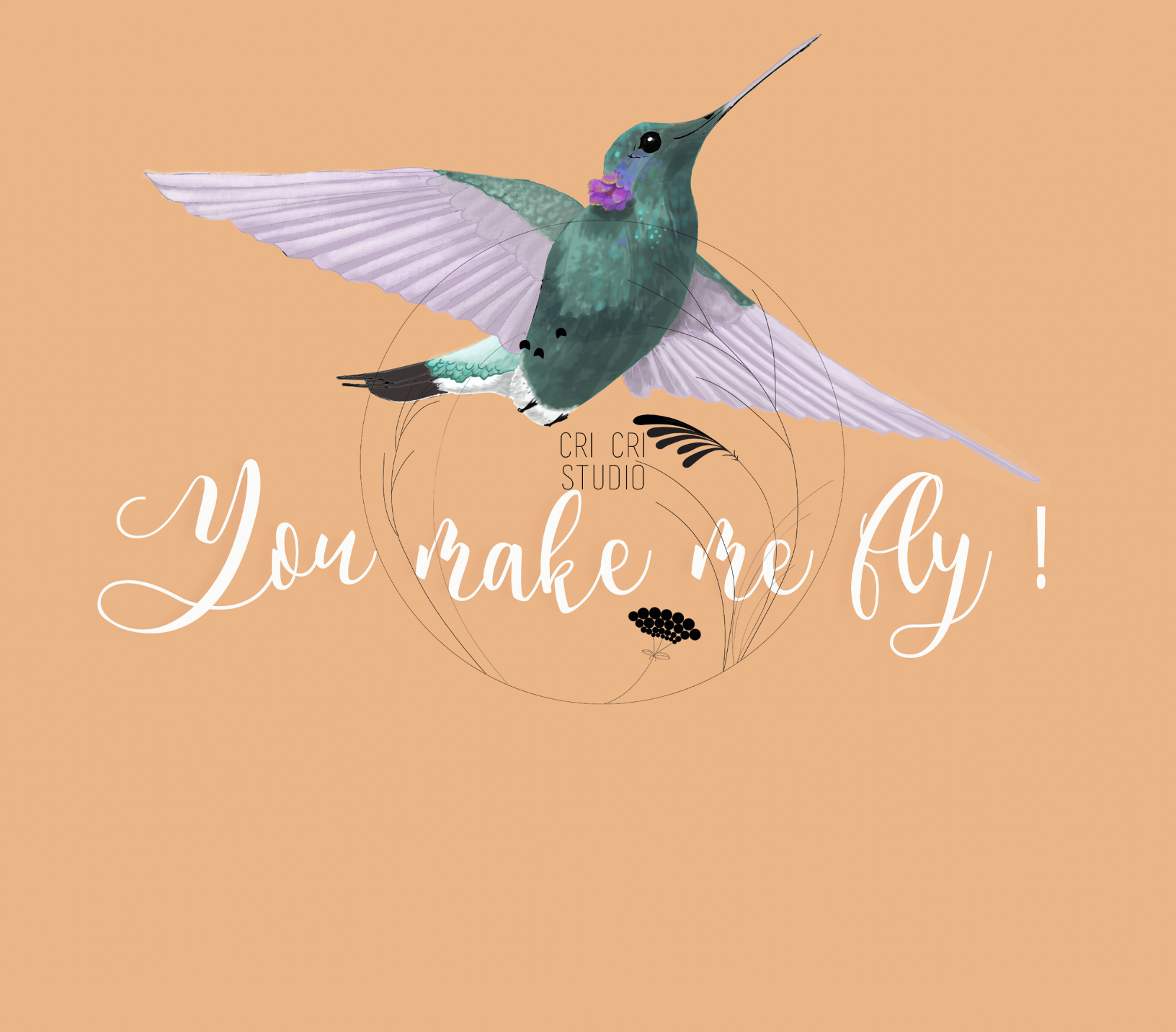 Humming bird free hand illustration