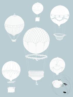 Vintage blue Hot Air Balloon