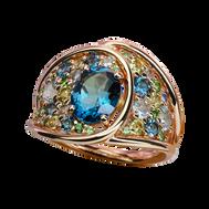 Petale ring - London Blue Topaz 18k Pink Gold