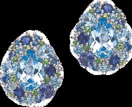 Boucles d'oreilles Emotion Poire - Topaze bleu Or Blanc 18k