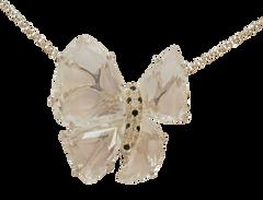 Collier Papillon - Quartz Blanc Or Jaune 18k