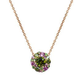 Emotion Rond necklace - Green Tourmaline 18k Yellow Gold