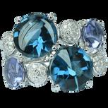 Macarons ring - London Blue Topaz 18k White Gold