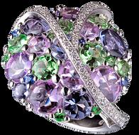 Galaxie ring - Tsavorites and Rose de France 18k White Gold